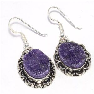 💎 Stunning Agate Purple Druzy Earrings NEW